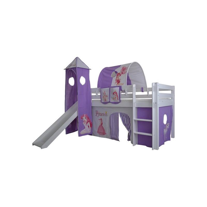 Speeltent voor bed half hoogslaper met glijbaan en toren