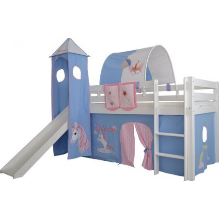 Speeltent voor bed half hoogslaper met toren en glijbaan