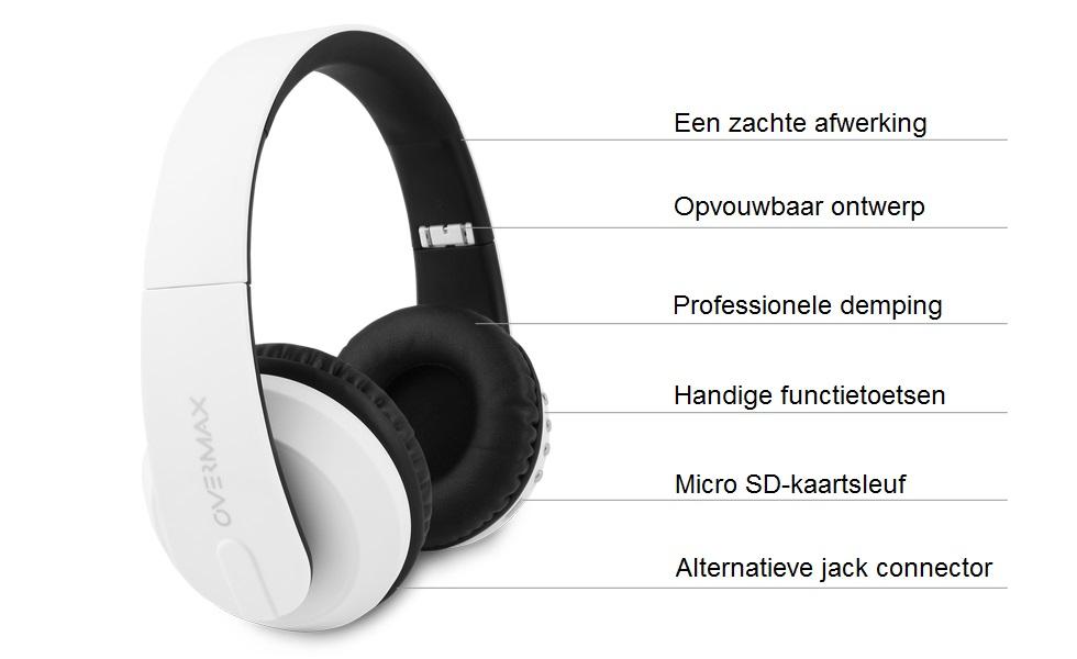 overmax soundboost 2 2 bt headset opvouwbaar. Black Bedroom Furniture Sets. Home Design Ideas